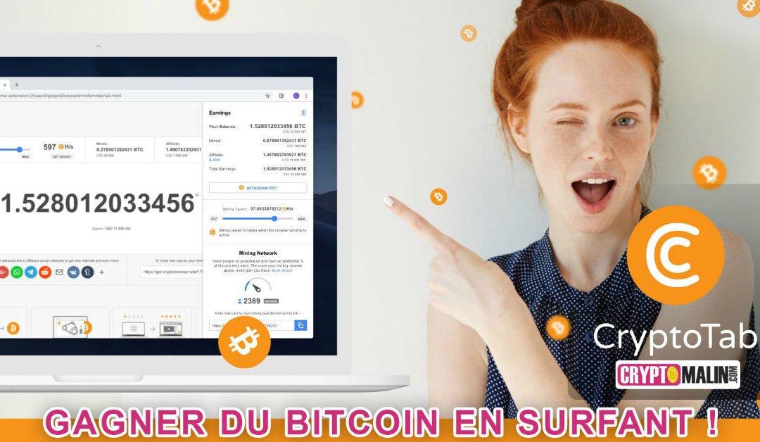 Gagner des Bitcoins en surfant sur internet avec CryptoTab!